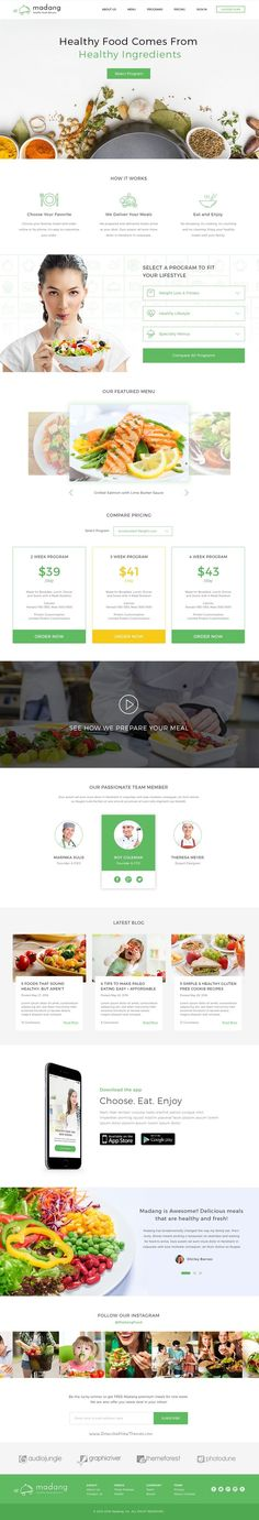 Madang is modern and fresh design #PSD template for Healthy #Food Delivery Services #website download now➯ https://themeforest.net/item/madang-healthy-food-delivery-psd/16881082?ref=Datasata. If you like UX, design, or design thinking, check out theuxblog.com