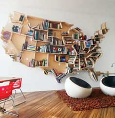 US Map Book Shelf- I wouldn't necessarily choose this country, but I still love this.