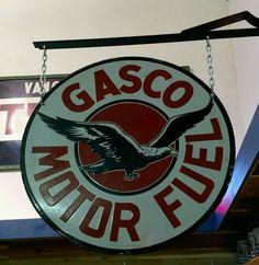 Rare Original Gasco Motor Fuel Porcelain Sign