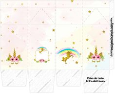 Unicorn Birthday Decorations, Girl Birthday Themes, Kids Party Themes, Printable Box, Printable Planner Stickers, Baby Unicorn, Unicorn Party, Unicorn Printables, Free Printables