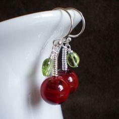 Cherry Lampwork Glass Earrings