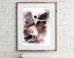 Acuarela original pintura de bailarina arte acuarela por CanotStop