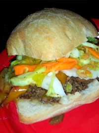 Italian Beef Sliders  1 17-ounce package refrigerated cooked beef roast au jus 2 cups frozen peppers and onion stir fry veggies 1/2 tsp dried Italian seasoning 1/4 tsp crushed red pepper 2 cups coleslaw mix (cabbag w/ carrot 1/2 cup pepperoncini salad peppers, stemmed and chopped, plus 2 tbsp. liguid 1/2 tsp dried Italian season provolone cheese slices  Click Here for the complete recipe: http://www.q99fm.com/BreakfastClub/FDT2014.aspx