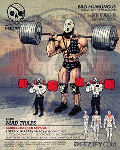 traps exercise: racked shrugs humungus