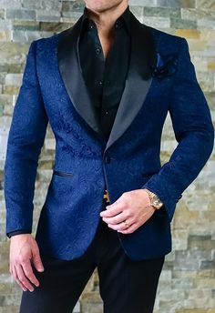 Navy Blue & Black Never Looked So Sexy! Get This Dinner Jacket Today. Be Bold. #sebastiancruzcouture