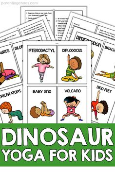 Dinosaur Yoga for Kids ⋆ Parenting Chaos - Dinosaur Yoga Kids Printable - Pe Activities, Dinosaur Activities, Printable Activities For Kids, Classroom Activities, Dinosaur Printables, Dinosaur Theme Preschool, Dinosaur Crafts, Preschool Age, Dinosaur Books For Kids