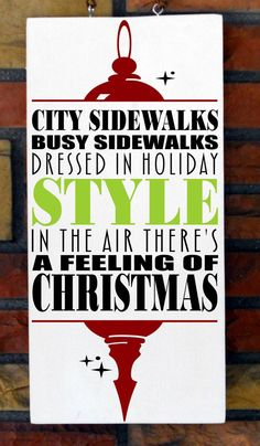 """9 1/4x 19 wooden Christmas Sign """"A Feeling Of Christmas"""" $23.00"""