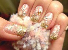 Gold Glitter Beaded Christmas Nail Art