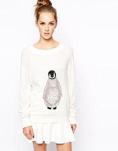 French Connection Penguin Intarsia Knitted Jumper ONLY $111