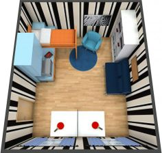 Aerial view for a 3D floor plan for a kids room with colorful furniture and a ping pong table; Decor from IKEA  Crate and Barrel.  Follow the tips here to help involve your kids in remodeling their room:  http://www.roomsketcher.com/blog/kids-design-bedrooms-with-roomsketcher/ #floorplan #bedroom #kids #colors #patterns #games #remodel #bedroom