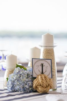 Nautical themed centerpiece for a sailor themed wedding