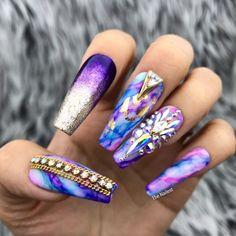 Artistic golden age swarovski crystals set summer nail designs cool in Bling Nails, Diy Nails, Cute Nails, Pretty Nails, Nail Nail, Nail Polish, Cute Spring Nails, Summer Nails, Unicorn Nails Designs
