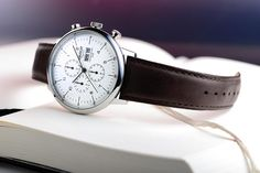 classic BAUHAUS Chronograph with domed sapphire crystal by ADVOLAT www. Watches, Watch Brands, Chronograph, Sapphire, Crystals, Bauhaus, The Originals, Classic, Accessories