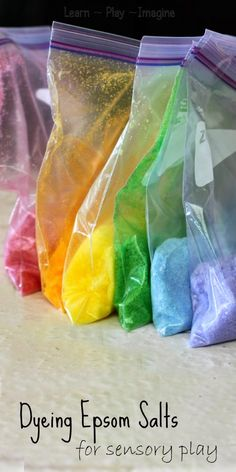 Simple and frugal sensory play - How to color epson salts