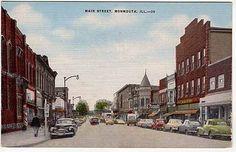 Linen Postcard~Main Street in Monmouth, Illinois