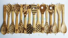 Bring a little art into your kitchen with these hand burned cooking utensils. Whether you like to cook or not, these wooden spoons will be a conversation starter during your next get together. 1.) Pick your own six designs from the second image above. Designs will be burned on utensils that I see fit for each individual order. You can have six spoons of the same design or three spoons with one design and another three with a second design.  2.) List your choices (Letters) in the notes to…