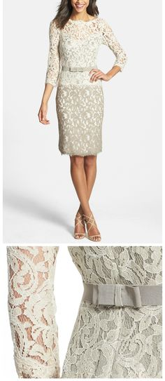 Classic wedding look for a mother-of-the bride! Beautiful, great fit and comfortable enough (it stretches!) to move on the dance floor. Very polished and classy without being matronly. Love the pretty lace and bow details.