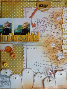 Scrapbook page layout...use map to document travels