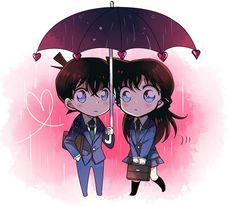 Shinichi x Ran Anime Chibi, Kawaii Anime, Manga Anime, Ran And Shinichi, Kudo Shinichi, Magic Kaito, Sherlock Holmes, Detective Conan Ran, Detektif Conan