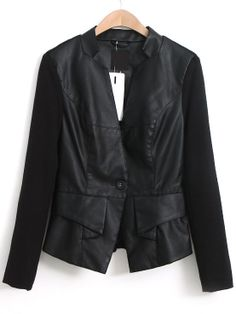 Black Stand Collar Long Sleeve Leather Jacket EUR€24.93