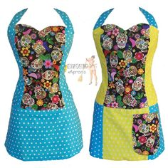 Kitschy Aprons by Shelley Faye - Sugar Skulls and Polka dots Diva apron.