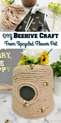 If you are looking for an easy yet adorable craft project, this is a must-make craft! This DIY beehive craft is made from an upcycled flower pot and so easy! Easy Diy Crafts, Diy Craft Projects, Craft Tutorials, Crafts To Make, Fun Crafts, Crafts For Kids, Paper Crafts, Amazing Crafts, Beehive Craft