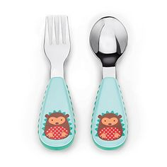 This adorable fork and spoon has soft side grips so it's easy for #little ones to hold.Stainless #steel heads make the utensils feel very grown up for little one...
