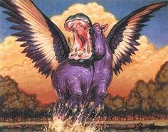 """Awesome winged hippo, found on a website devoted to becoming a wiccan priestess. I scanned a few pages, but never found what Pegasus hippos have to do with """"neopaganism"""" ......"""