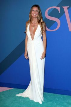 Heidi Klum Ivory Dress Deep V-neck Ruffle Backless Evening Gown 2017 CFDA  Fashion Awards - TheCelebrityDresses cd313c986ace