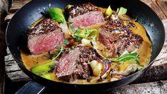 Biff i cognacsaus Happy Foods, Nom Nom, Steak, Recipies, Food And Drink, Favorite Recipes, Dinner, Recipes, Dining