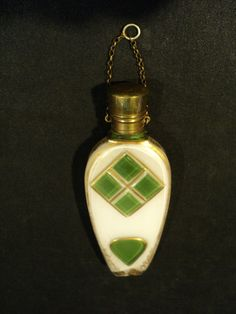 BOHEMIAN CZECH GREEN GLASS OVERLAY OVER WHITE SCENT BOTTLE with GILT DECORATION | eBay