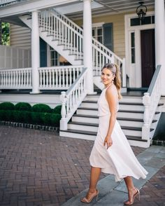 Perfect white summer dress with strappy nude heels by Julia Engel of Gal Meets Glam