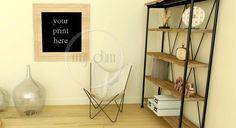 Salon, Mockup, photographie de Stock, usage Commercial, scène de salon, cadres photo vides, Frame maquette de la boutique mujdumwall sur Etsy