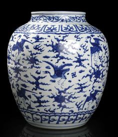 A large blue and white 'hundred cranes' jar, China, 16th century. Photo Nagel