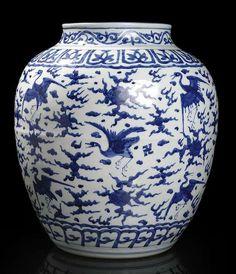 A large blue and white 'hundred cranes' jar, China, 16th century. Photo Nagel