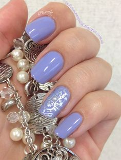 Inspirational photo by Chan Fie. Stamping mani using GA35. Doing just a feature nail cuts down on time and shows off the base colour! I love OPI Your Such a Budapest so much I purchased a backup!  I also added a half pearl rhinestone   #nails #nailstamping #nailart #OPI @Bloom.com