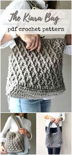 crochet pattern for this great over the shoulder handbag. Big enough for a laptop. Looks super sturdy. Love the textured stitch! #etsy #ad #pdf #pattern #crochet