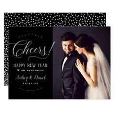 Cheers Happy New Year | Wedding Photo Card - New Year's Eve happy new year designs party celebration Saint Sylvester's Day