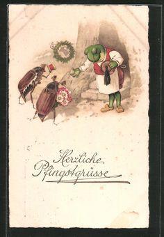 AK Herzliche Pfingstgrüße, Frosch als Gastwirt heisst Maikäfer Willkommen 1922 in Sammeln & Seltenes, Ansichtskarten, Motive | eBay