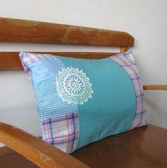 sweet teal and lilac patchwork lumbar pillow