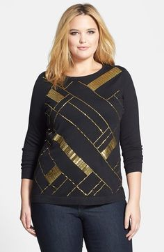Vince Camuto Embellished Sweater (Plus Size)