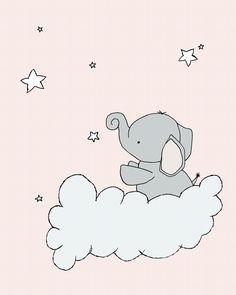SET OF 3 - Elephant Moon and Stars - Pink & Grey - Elephant Nursery Art