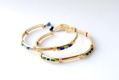 Bracelet jonc éthnique doré à l'or fin perles miyuki