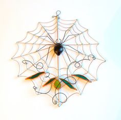 Small Fancy Handmade Copper Spider Web with by SpiderwoodHollow, $40.00