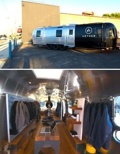 "The AESTHERstream is a converted 34-foot Airstream trailer carrying men's fashion and decorative items. Two movie producers came up with the idea for ""the ultimate guy's workshop, an adventure lab on wheels, a mobile man cave."" They hired designer Thierry Gaugain to outfit the interior with reclaimed wood floors, modular shelving and vintage details."