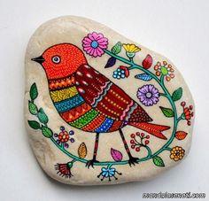 taş boyama sanatı kuşlar