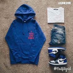 Today's top #outfitgrid is by @ldn2hk. ▫️#IFeelLikeKanye #Hoodie ▫️#JohnEllliottCo #Tee ▫️#NidDeGuepes #Denim ▫️#NikeLab x #Fragment #Jordan1