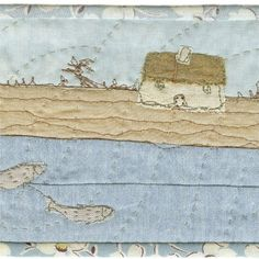 [little houses, critters, on brooches] --So simple. The fish in the river--cute!