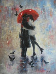 Kiss in the Rain Art Print lovers kissing red door VickieWadeFineArt