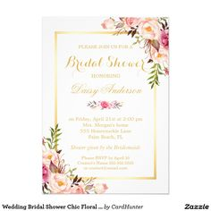 Shop Wedding Rehearsal Dinner Elegant Chic Gold Floral Invitation created by CardHunter. Personalize it with photos & text or purchase as is! Formal Wedding Invitations, Gold Invitations, Graduation Invitations, Elegant Invitations, Custom Invitations, Wedding Cards, Wedding Stationery, Kitchen Tea Invitations, Wedding Planner